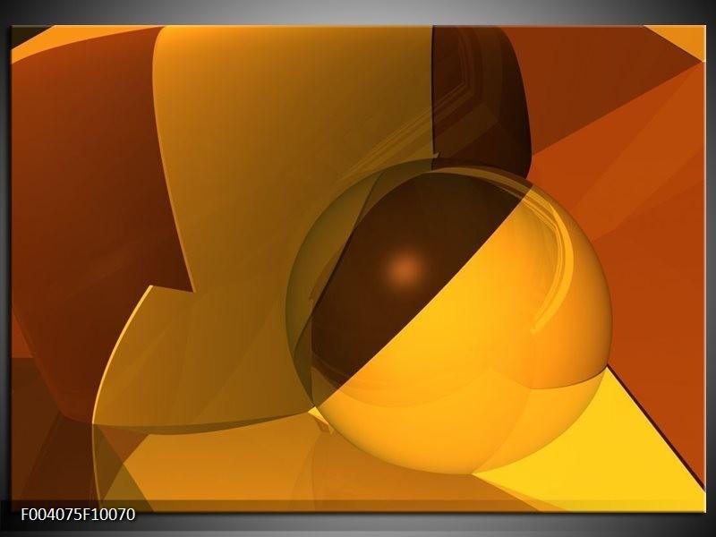 Glas schilderij Abstract | Bruin, Geel