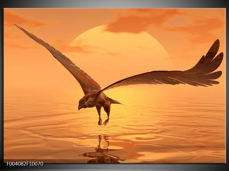 Glas schilderij Vogel | Geel, Bruin