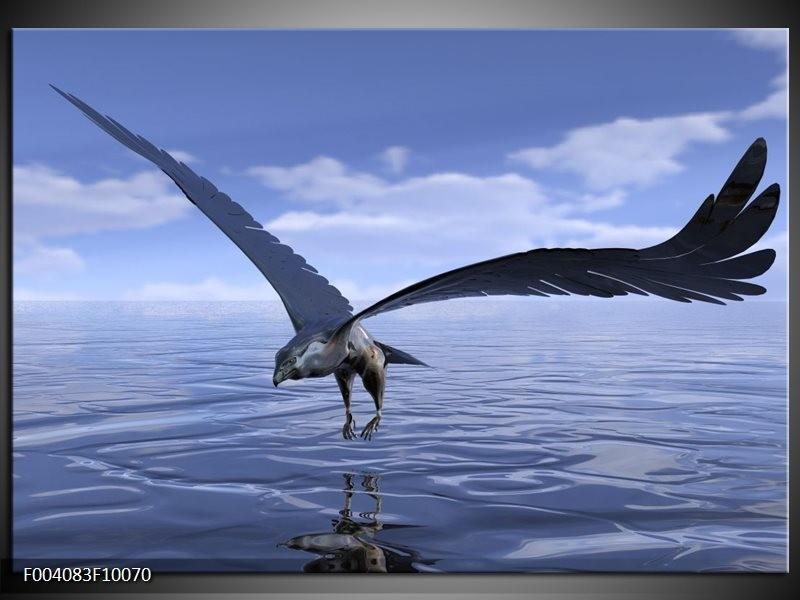 Glas schilderij Vogel   Blauw, Wit