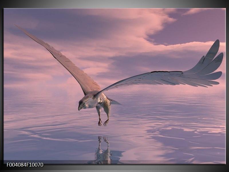 Glas schilderij Vogel | Grijs, Wit