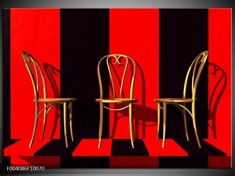 Foto canvas schilderij Stoelen | Rood, Zwart, Geel