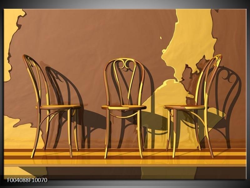 Foto canvas schilderij Stoelen | Bruin, Geel