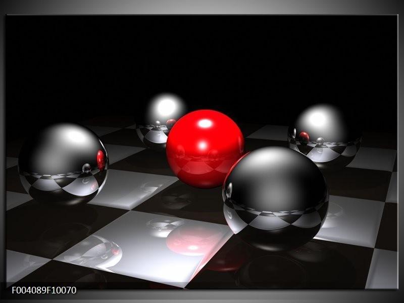 Glas schilderij Ball | Rood, Zwart, Grijs