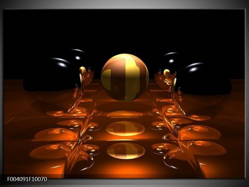 Glas schilderij Ball | Geel, Bruin, Zwart