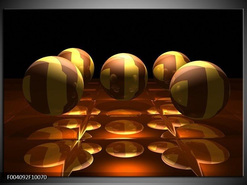 Glas schilderij Ball   Geel, Bruin, Zwart