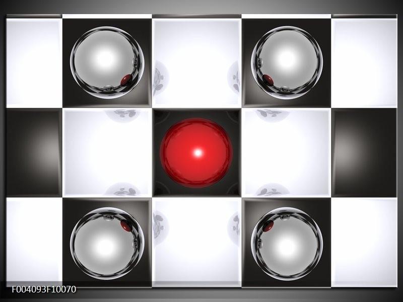 Glas schilderij Macro | Rood, Zwart, Wit