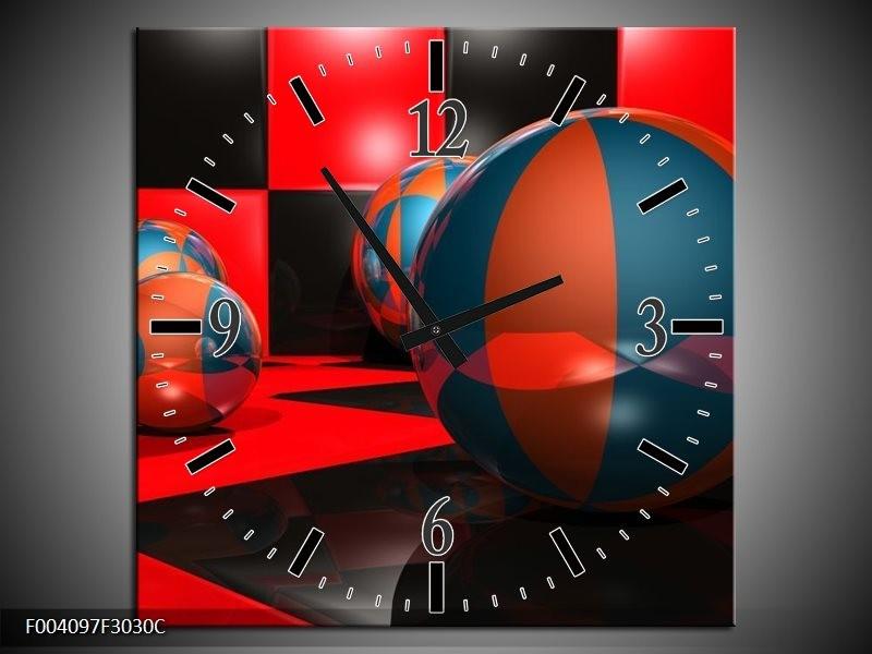 Wandklok op Canvas Cirkel   Kleur: Rood, Zwart, Blauw   F004097C