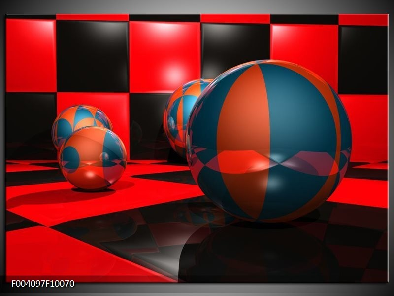 Glas schilderij Cirkel | Rood, Zwart, Blauw