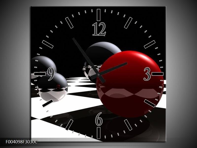 Wandklok op Canvas Cirkel | Kleur: Rood, Zwart, Wit | F004098C