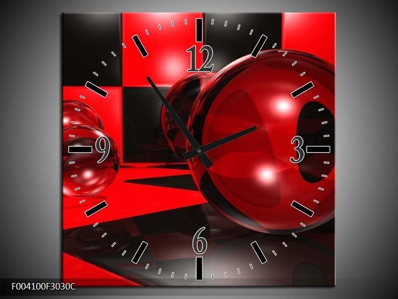 Wandklok op Canvas Cirkel | Kleur: Rood, Zwart, Wit | F004100C