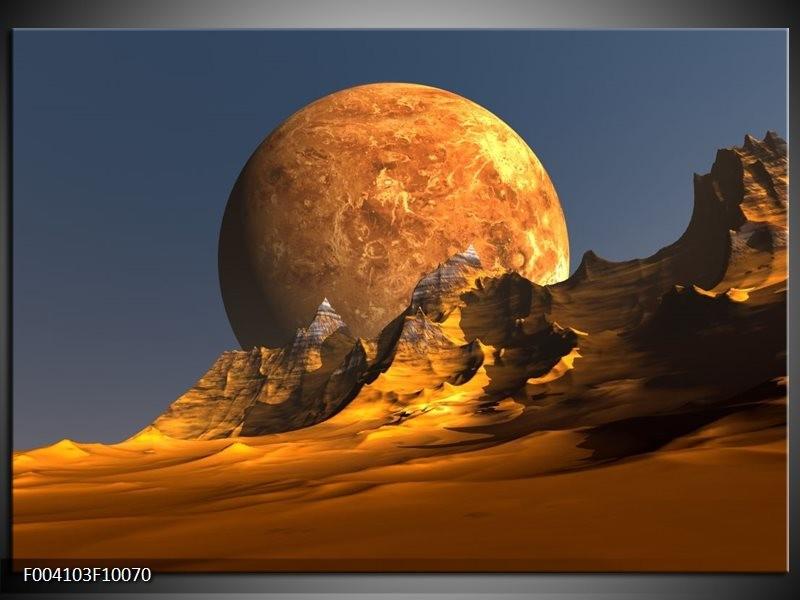 Foto canvas schilderij Maan | Geel, Bruin, Grijs