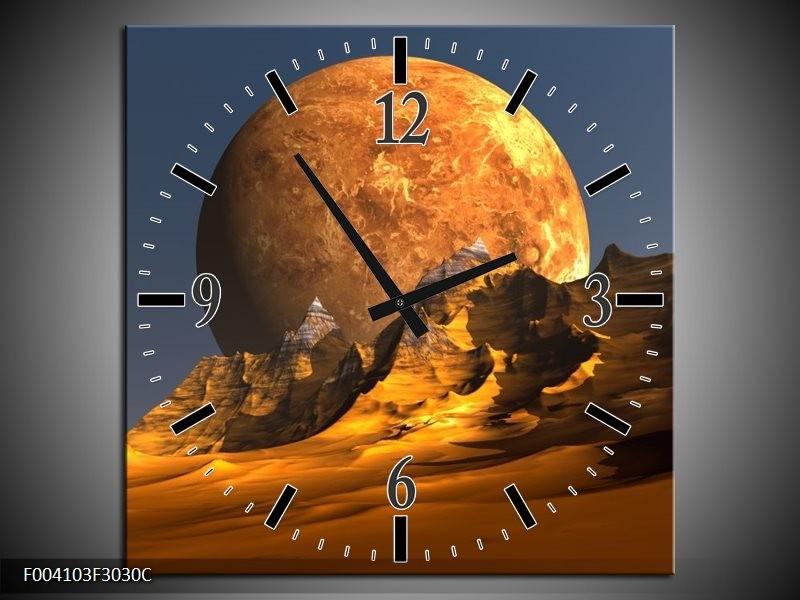 Wandklok op Canvas Maan | Kleur: Geel, Bruin, Grijs | F004103C