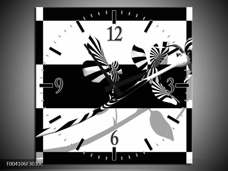 Wandklok op Canvas Roos | Kleur: Zwart, Wit, Grijs | F004106C