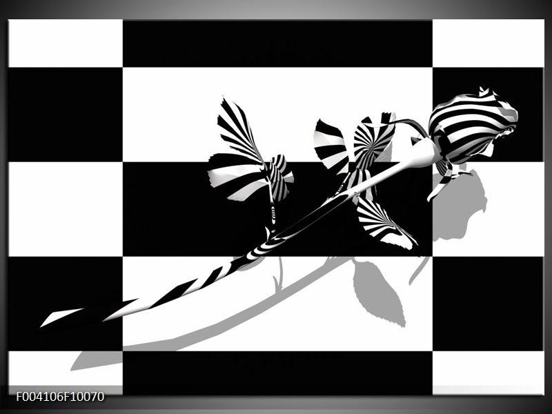 Glas schilderij Roos | Zwart, Wit, Grijs