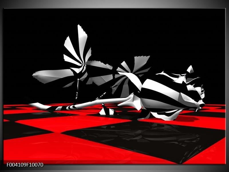 Foto canvas schilderij Abstract   Zwart, Rood, Wit