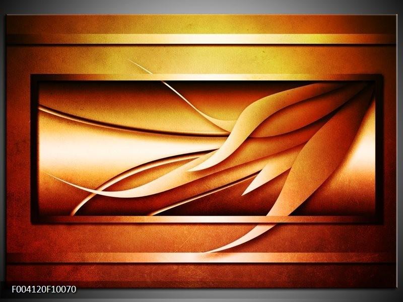 Glas schilderij Abstract | Geel, Bruin, Oranje