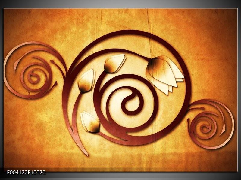 Glas schilderij Tulp | Geel, Bruin, Wit