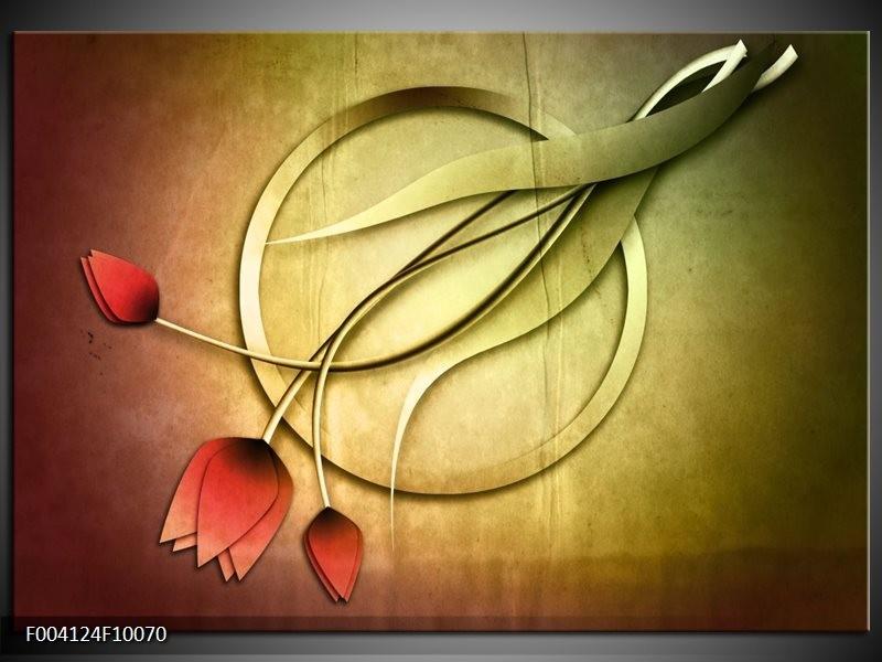 Glas schilderij Tulp | Groen, Rood, Geel