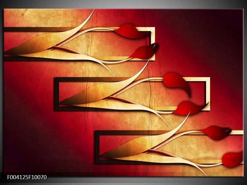 Foto canvas schilderij Tulp | Rood, Geel, Zwart