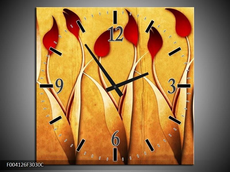 Wandklok op Canvas Tulp | Kleur: Geel, Wit, Rood | F004126C