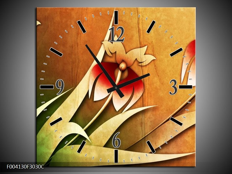 Wandklok op Canvas Bloem   Kleur: Rood, Geel, Groen   F004130C