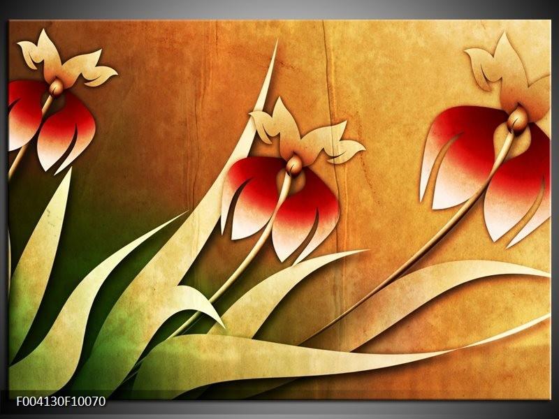 Glas schilderij Bloem | Rood, Geel, Groen
