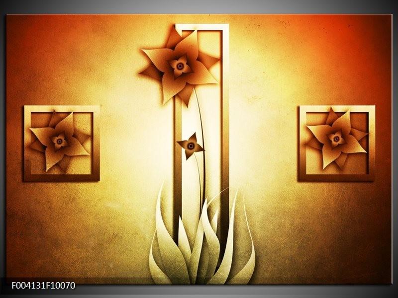 Glas schilderij Bloem | Geel, Bruin, Wit