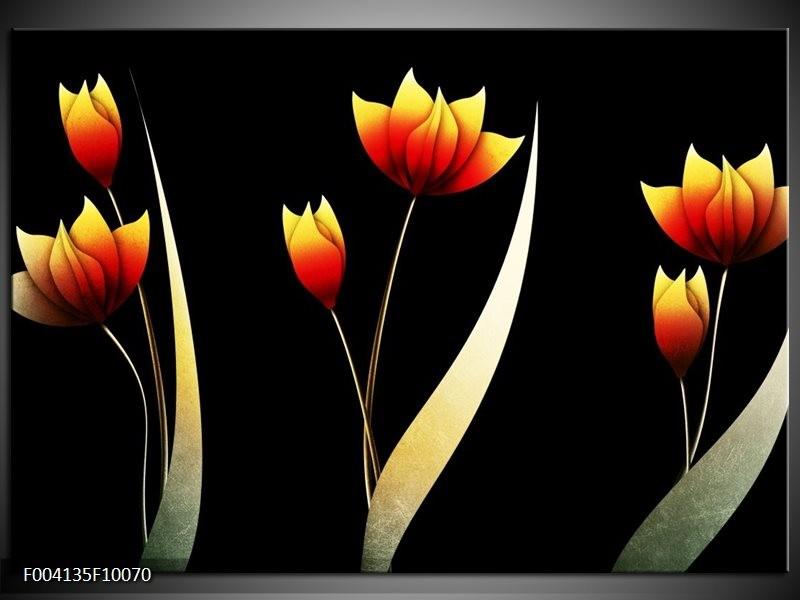 Glas schilderij Bloem   Groen, Rood, Geel