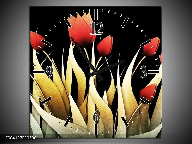 Wandklok op Canvas Tulp | Kleur: Rood, Zwart, Wit | F004137C