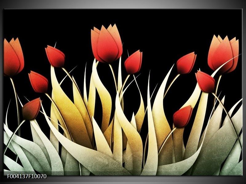 Glas schilderij Tulp | Rood, Zwart, Wit