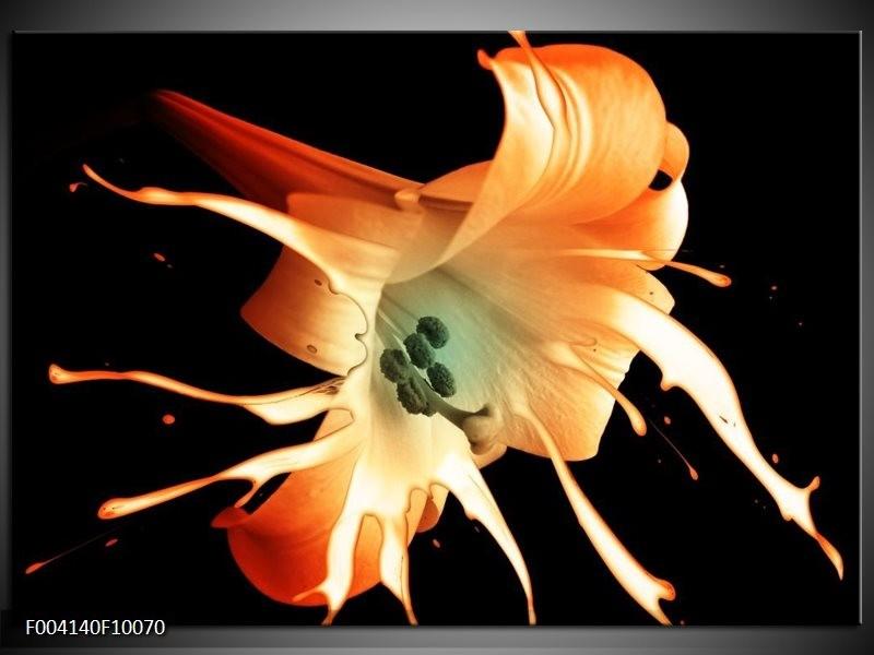 Glas schilderij Bloem | Wit, Zwart, Oranje