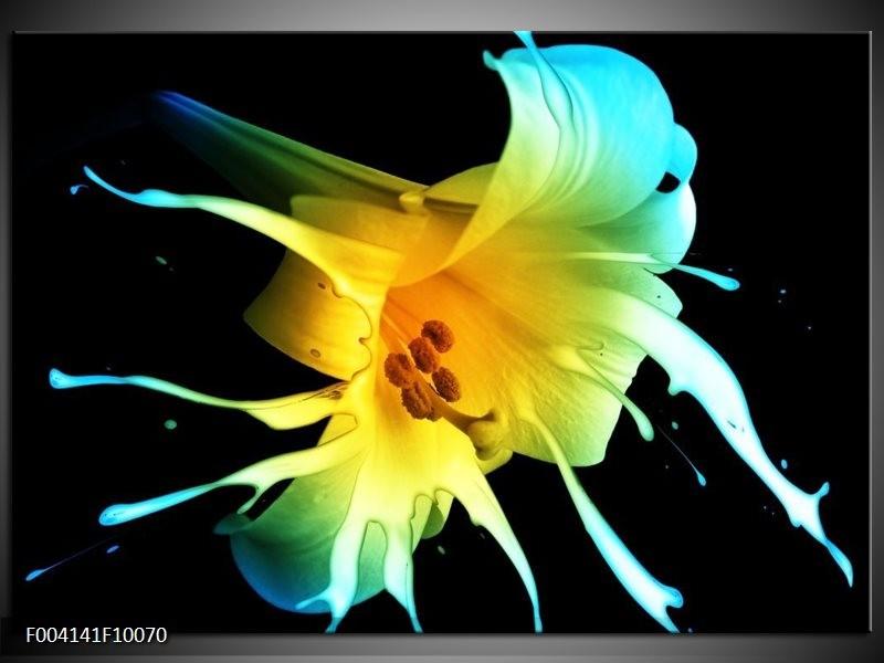 Foto canvas schilderij Bloem | Zwart, Geel, Blauw
