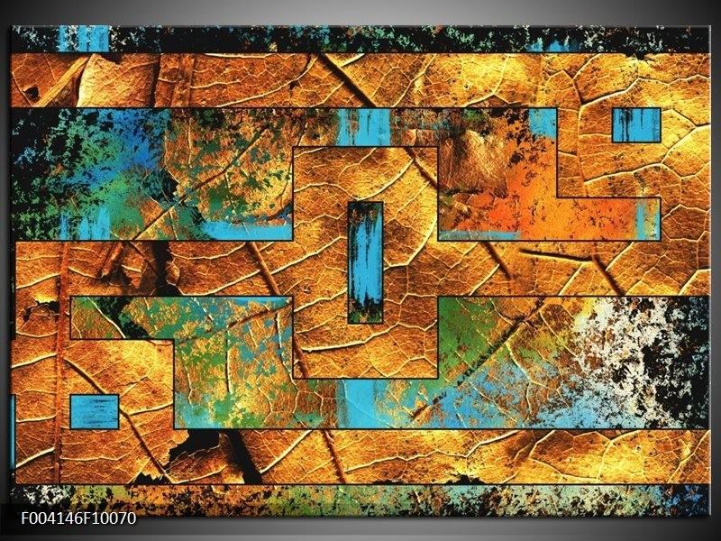 Glas schilderij Abstract | Bruin, Blauw, Geel