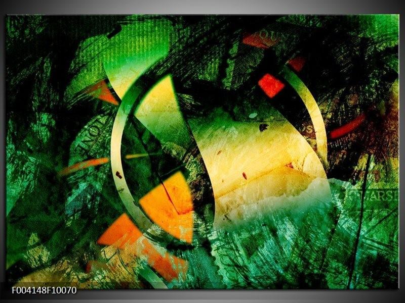 Foto canvas schilderij Abstract | Groen, Geel, Rood