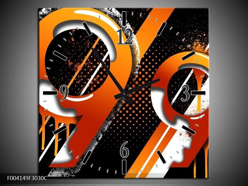 Wandklok op Canvas Abstract | Kleur: Oranje, Geel, Zwart | F004149C