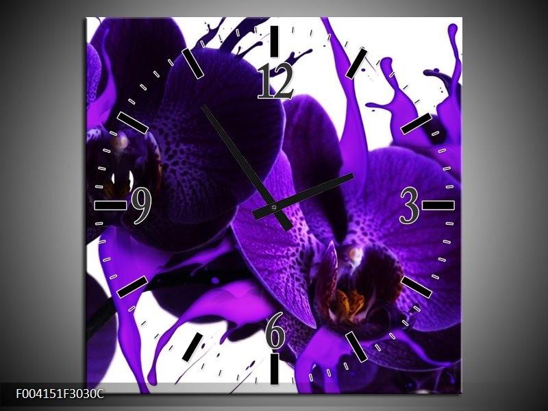 Wandklok op Canvas Orchidee | Kleur: Paars, Blauw, Wit | F004151C