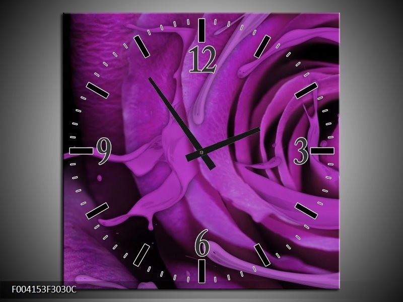 Wandklok op Canvas Roos | Kleur: Paars, Zwart | F004153C