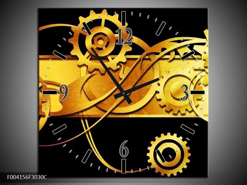 Wandklok op Canvas Abstract | Kleur: Zwart, Geel, Goud | F004156C