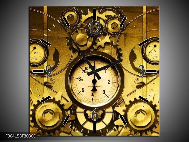 Wandklok op Canvas Klok | Kleur: Geel, Bruin, Zwart | F004158C