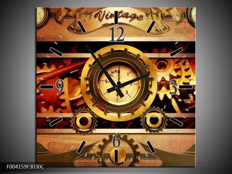 Wandklok op Canvas Klok | Kleur: Bruin, Rood, Geel | F004159C