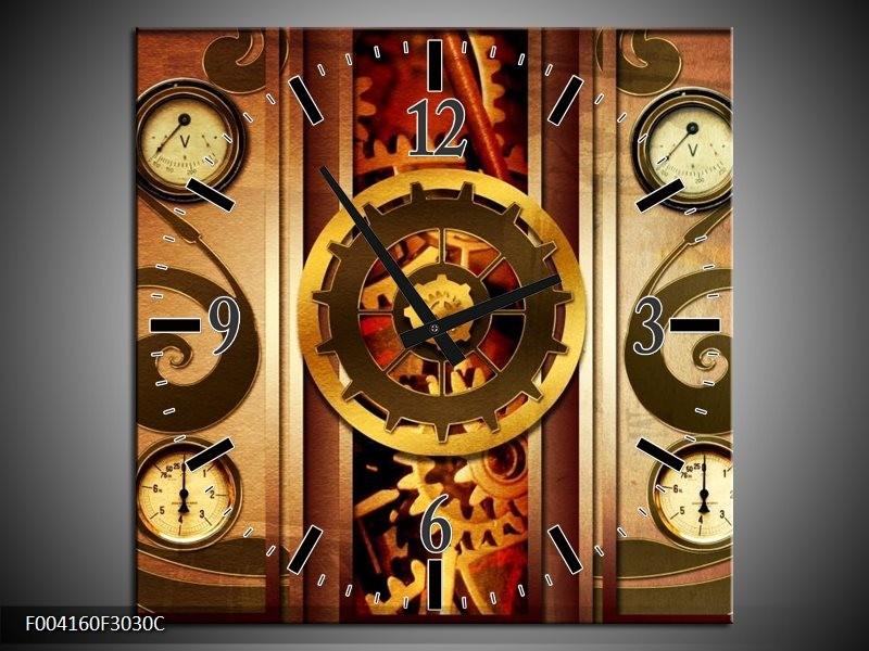 Wandklok op Canvas Klok   Kleur: Bruin, Rood, Geel   F004160C