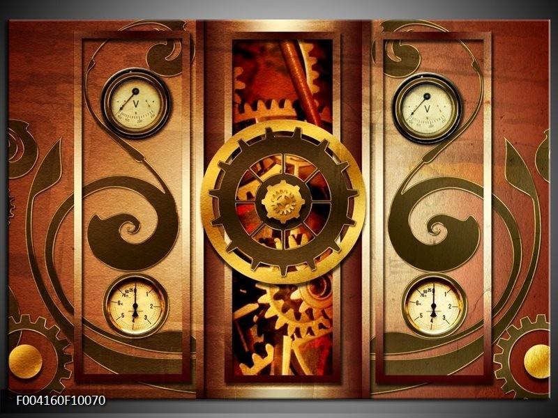 Glas schilderij Klok | Bruin, Rood, Geel