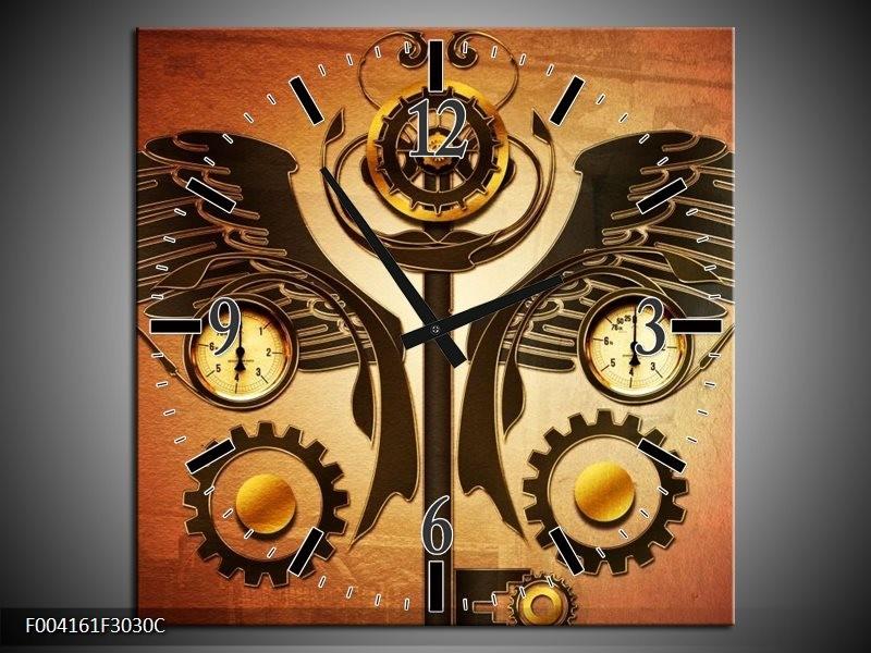 Wandklok op Canvas Klok | Kleur: Bruin, Rood, Geel | F004161C