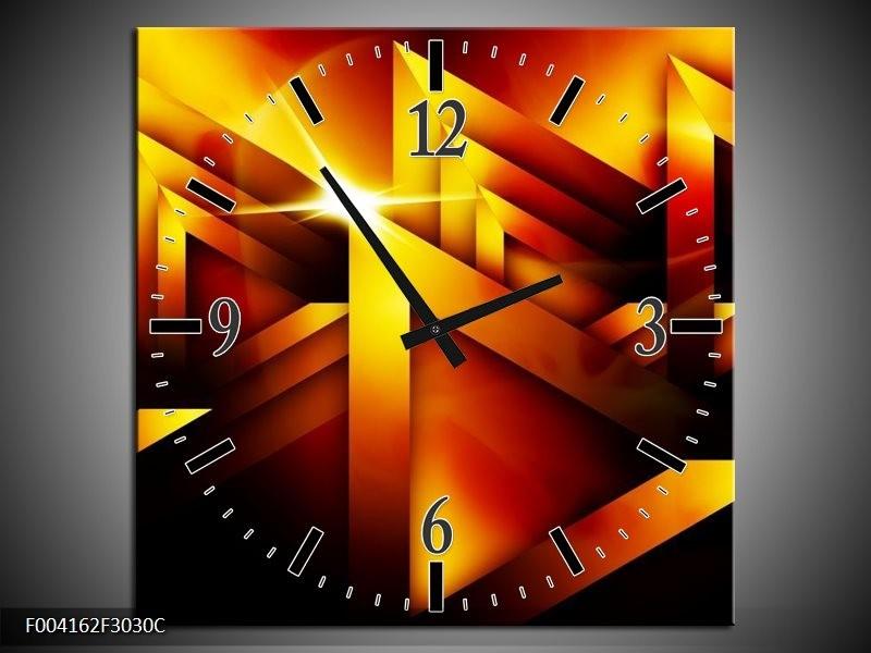Wandklok op Canvas Abstract | Kleur: Geel, Oranje, Rood | F004162C