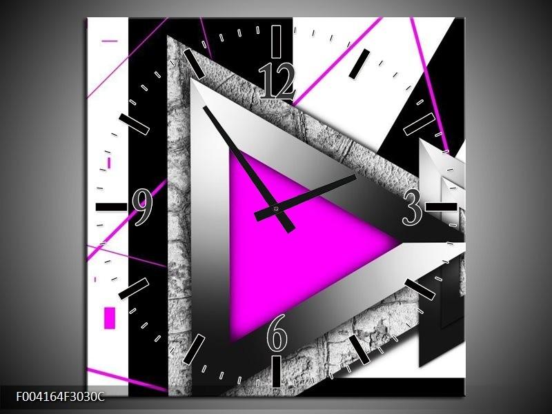 Wandklok op Canvas Abstract   Kleur: Roze, Wit, Grijs   F004164C