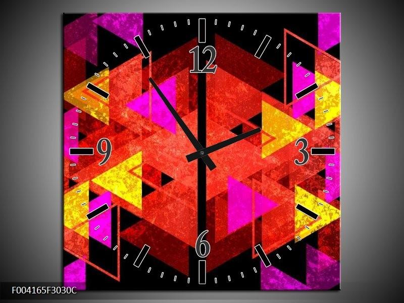 Wandklok op Canvas Abstract | Kleur: Rood, Geel, Roze | F004165C