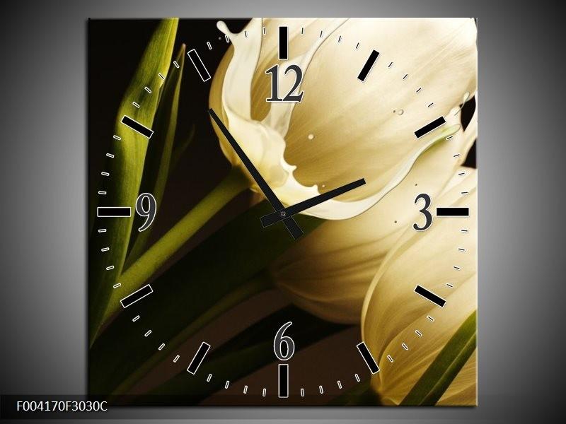 Wandklok op Canvas Tulp | Kleur: Wit, Groen, Zwart | F004170C