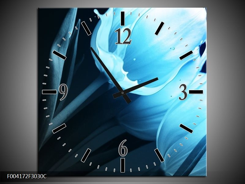 Wandklok op Canvas Tulp | Kleur: Blauw, Zwart | F004172C