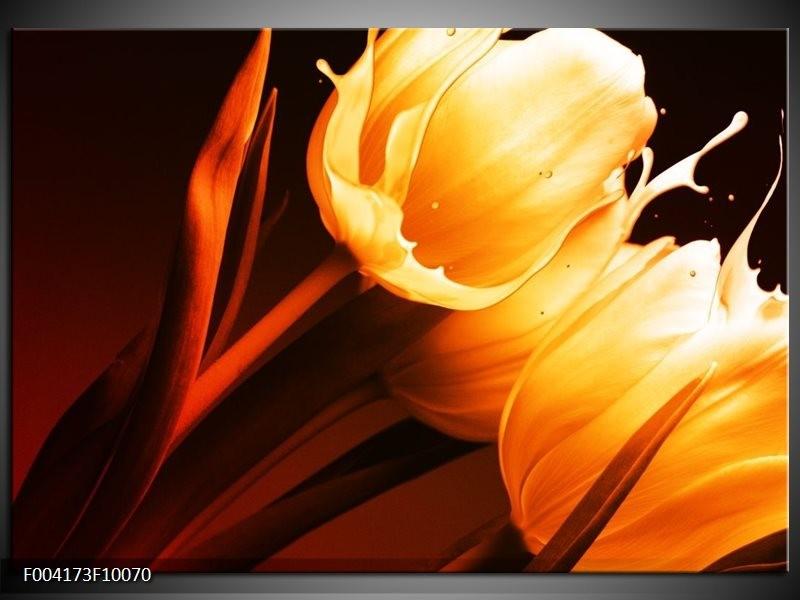 Foto canvas schilderij Tulp | Geel, Oranje, Bruin