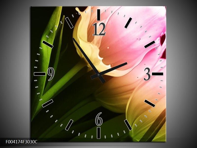 Wandklok op Canvas Tulp | Kleur: Groen, Roze, Zwart | F004174C